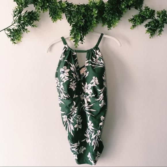 NEW Kona Sol Green Floral Tankini Top sz 20W